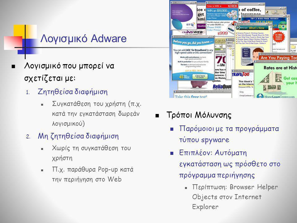 Λογισμικό Adware  Τρόποι Μόλυνσης  Παρόμοιοι με τα προγράμματα τύπου spyware  Επιπλέον: Αυτόματη εγκατάσταση ως πρόσθετο στο πρόγραμμα περιήγησης 
