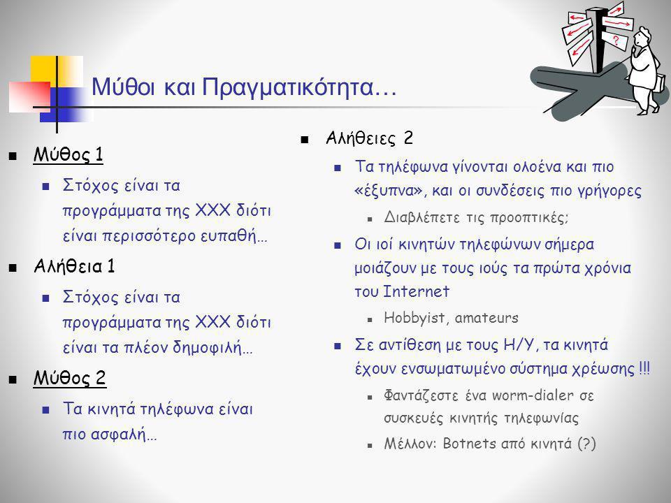 Μύθοι και Πραγματικότητα…  Μύθος 1  Στόχος είναι τα προγράμματα της ΧΧΧ διότι είναι περισσότερο ευπαθή…  Αλήθεια 1  Στόχος είναι τα προγράμματα τη
