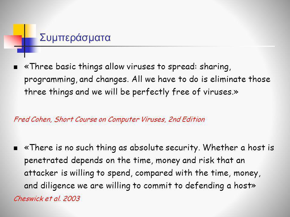 Συμπεράσματα  «Three basic things allow viruses to spread: sharing, programming, and changes. All we have to do is eliminate those three things and w