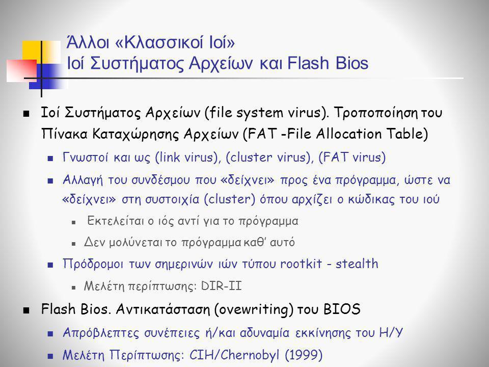 Άλλοι «Κλασσικοί Ιοί» Ιοί Συστήματος Αρχείων και Flash Bios  Ιοί Συστήματος Αρχείων (file system virus). Τροποποίηση του Πίνακα Καταχώρησης Αρχείων (