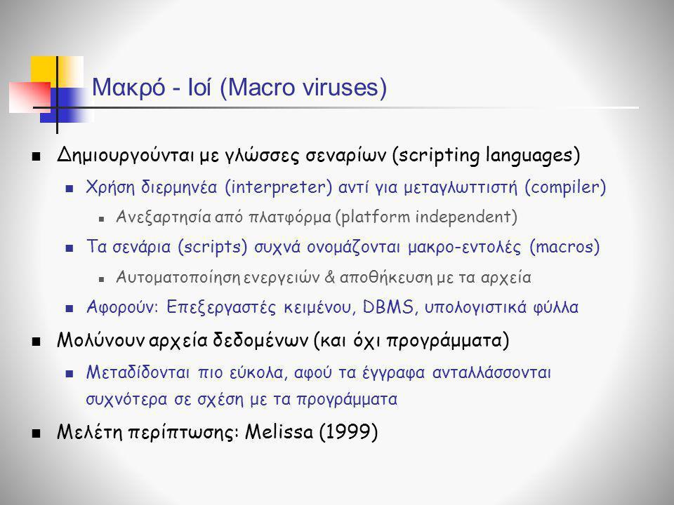 Μακρό - Ιοί (Macro viruses)  Δημιουργούνται με γλώσσες σεναρίων (scripting languages)  Χρήση διερμηνέα (interpreter) αντί για μεταγλωττιστή (compile