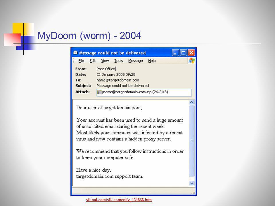MyDoom (worm) - 2004 vil.nai.com/vil/ content/v_131868.htm