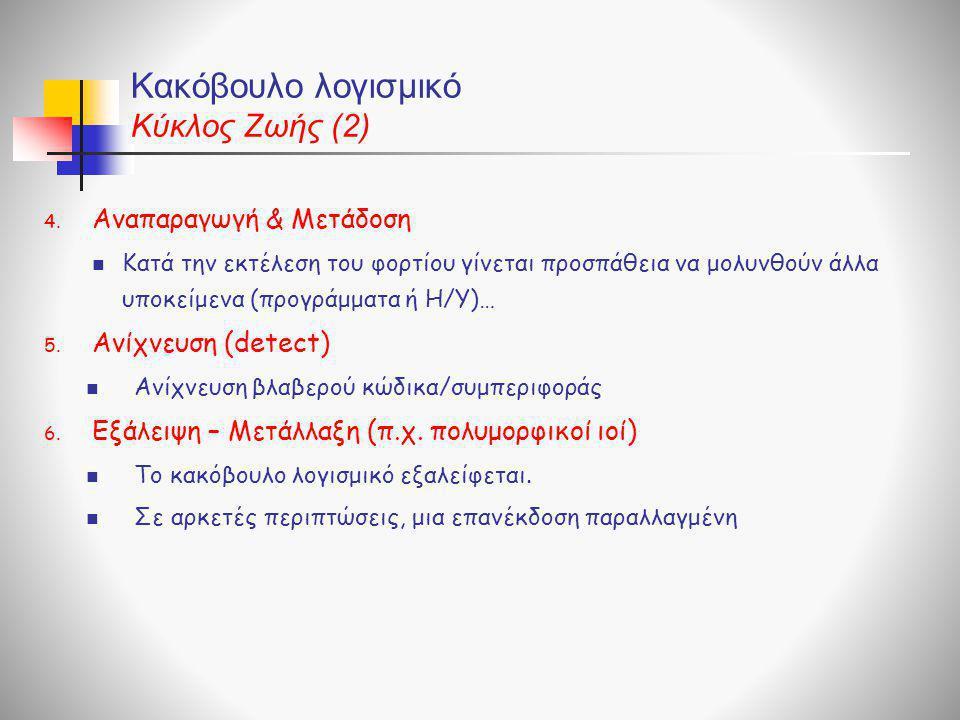 Κακόβουλο λογισμικό Κύκλος Ζωής (2) 4. Αναπαραγωγή & Μετάδοση  Kατά την εκτέλεση του φορτίου γίνεται προσπάθεια να μολυνθούν άλλα υποκείμενα (προγράμ