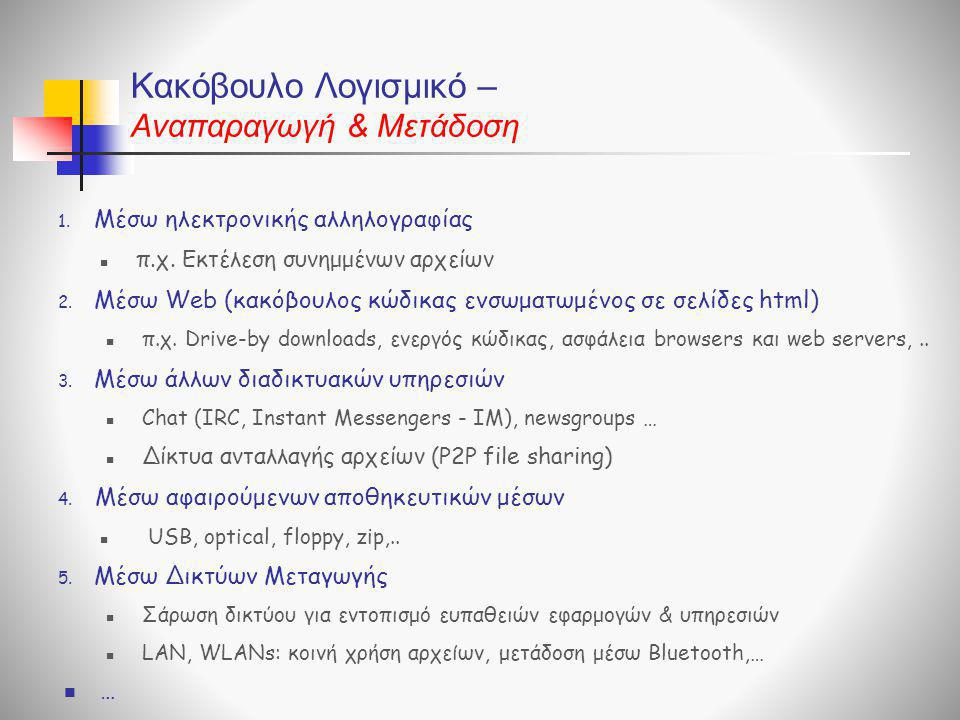 Κακόβουλο Λογισμικό – Aναπαραγωγή & Μετάδοση 1. Μέσω ηλεκτρονικής αλληλογραφίας  π.χ. Εκτέλεση συνημμένων αρχείων 2. Μέσω Web (κακόβουλος κώδικας ενσ