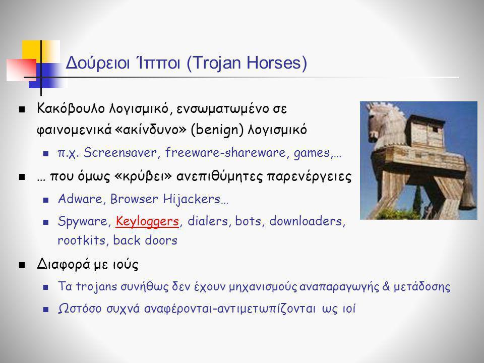 Δούρειοι Ίπποι (Trojan Horses)  Κακόβουλο λογισμικό, ενσωματωμένο σε φαινομενικά «ακίνδυνο» (benign) λογισμικό  π.χ. Screensaver, freeware-shareware