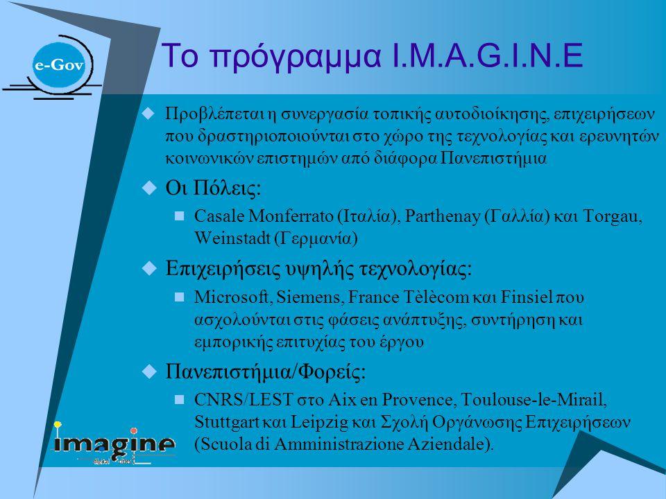 Το πρόγραμμα Ι.Μ.Α.G.I.N.E  Προβλέπεται η συνεργασία τοπικής αυτοδιοίκησης, επιχειρήσεων που δραστηριοποιούνται στο χώρο της τεχνολογίας και ερευνητώ