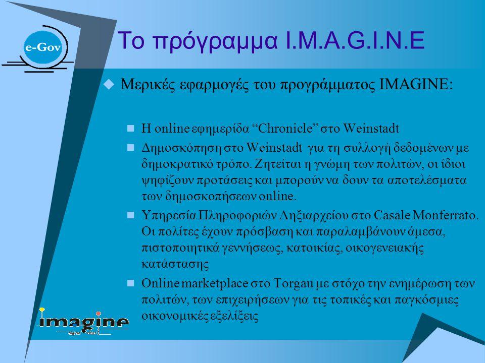 """Το πρόγραμμα Ι.Μ.Α.G.I.N.E  Μερικές εφαρμογές του προγράμματος IMAGINE:  H online εφημερίδα """"Chronicle"""" στο Weinstadt  Δημοσκόπηση στο Weinstadt γι"""