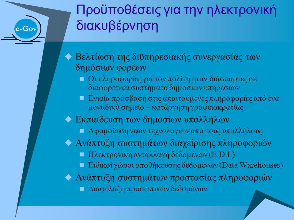 Προϋποθέσεις για την ηλεκτρονική διακυβέρνηση  Βελτίωση της διϋπηρεσιακής συνεργασίας των δημόσιων φορέων  Οι πληροφορίες για τον πολίτη ήταν διάσπα