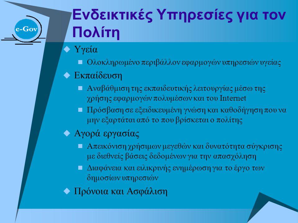 Ενδεικτικές Υπηρεσίες για τον Πολίτη  Υγεία  Ολοκληρωμένο περιβάλλον εφαρμογών υπηρεσιών υγείας  Εκπαίδευση  Αναβάθμιση της εκπαιδευτικής λειτουργ