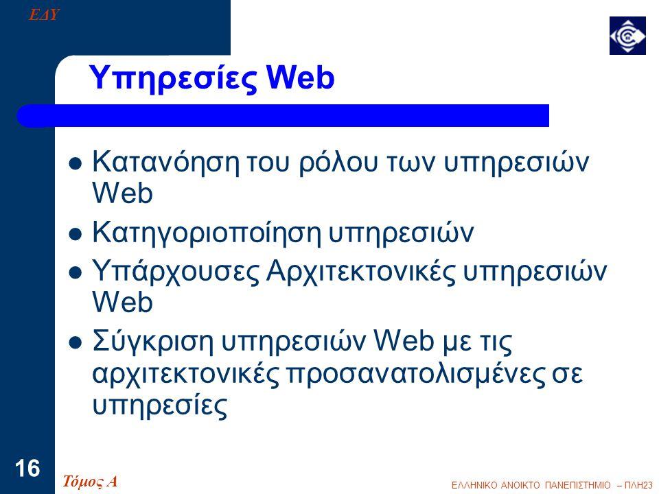 ΕΛΛΗΝΙΚΟ ΑΝΟΙΚΤΟ ΠΑΝΕΠΙΣΤΗΜΙΟ – ΠΛΗ23 16 Υπηρεσίες Web  Κατανόηση του ρόλου των υπηρεσιών Web  Κατηγοριοποίηση υπηρεσιών  Υπάρχουσες Αρχιτεκτονικές