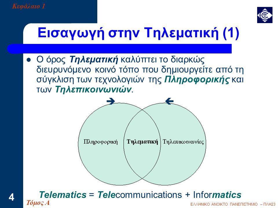 ΕΛΛΗΝΙΚΟ ΑΝΟΙΚΤΟ ΠΑΝΕΠΙΣΤΗΜΙΟ – ΠΛΗ23 15 Εφαρμογές Τηλεματικής  Μια Εφαρμογή Τηλεματικής είναι ο συνδυασμός δύο ή περισσότερων υπηρεσιών τηλεματικής για την κάλυψη σύνθετων πληροφοριακών και επικοινωνιακών αναγκών.
