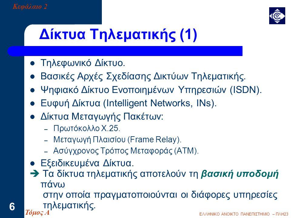 ΕΛΛΗΝΙΚΟ ΑΝΟΙΚΤΟ ΠΑΝΕΠΙΣΤΗΜΙΟ – ΠΛΗ23 7 Δίκτυα Τηλεματικής (2) Τηλεφωνικό Δίκτυο (Αναλογικό) Δίκτυο ISDN (Ψηφιακό) Δίκτυο Μεταγωγής Πακέτων Χ.25 (Ψηφιακό) Δίκτυο Μεταγωγής Πακέτων Frame Relay (Ψηφιακό) Δίκτυα ΑΤΜ και Β - ISDN (Ψηφιακά) Κεφάλαιο 2 - ΕΔΥ Τόμος Α