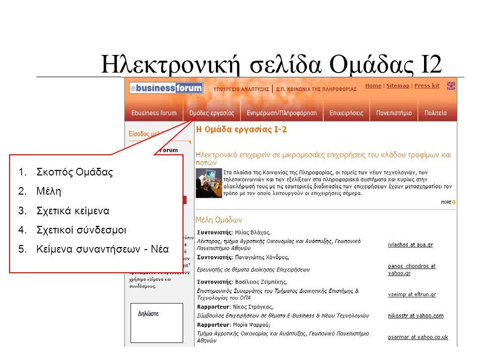 Ηλεκτρονική σελίδα Ομάδας Ι2 1.Σκοπός Ομάδας 2.Μέλη 3.Σχετικά κείμενα 4.Σχετικοί σύνδεσμοι 5.Κείμενα συναντήσεων - Νέα