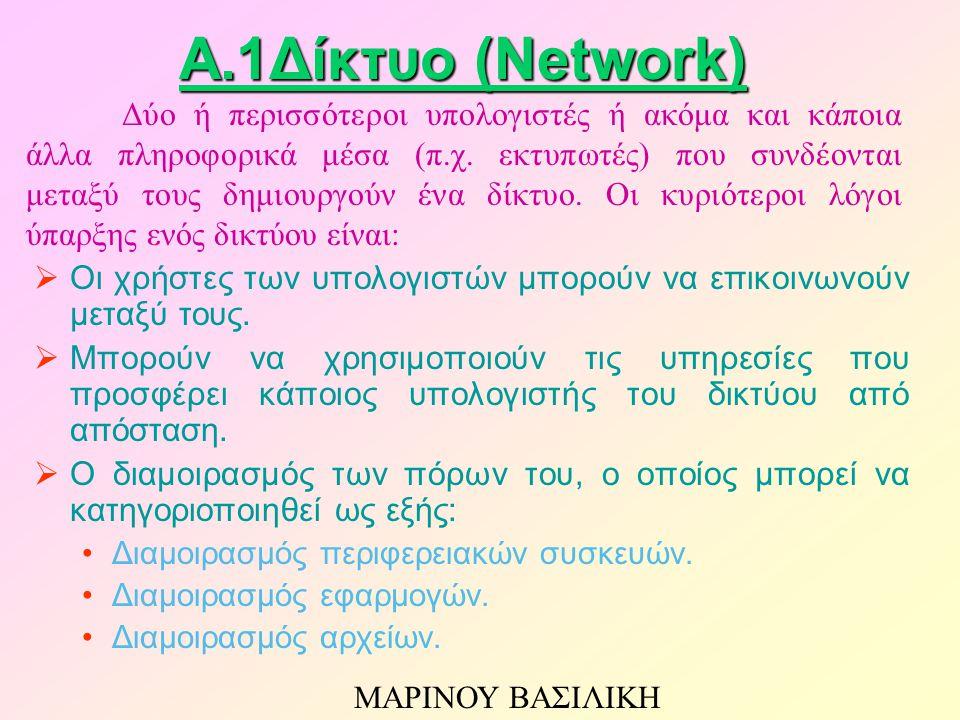 A.1Δίκτυο (Network)  Οι χρήστες των υπολογιστών μπορούν να επικοινωνούν μεταξύ τους.  Μπορούν να χρησιμοποιούν τις υπηρεσίες που προσφέρει κάποιος υ