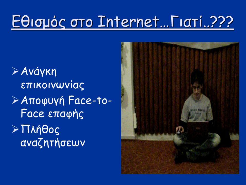 Εθισμός στο Internet…Γιατί..???  Ανάγκη επικοινωνίας  Αποφυγή Face-to- Face επαφής  Πλήθος αναζητήσεων