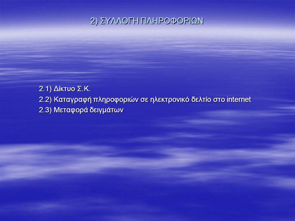2) ΣΥΛΛΟΓΗ ΠΛΗΡΟΦΟΡΙΩΝ 2.1) Δίκτυο Σ.Κ.