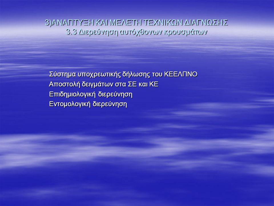 3)ΑΝΑΠΤΥΞΗ ΚΑΙ ΜΕΛΕΤΗ ΤΕΧΝΙΚΩΝ ΔΙΑΓΝΩΣΗΣ 3.3 Διερεύνηση αυτόχθονων κρουσμάτων Σύστημα υποχρεωτικής δήλωσης του ΚΕΕΛΠΝΟ Αποστολή δειγμάτων στα ΣΕ και ΚΕ Επιδημιολογική διερεύνηση Εντομολογική διερεύνηση