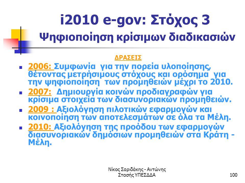 Νίκος Σαριδάκης - Αντώνης Στασής ΥΠΕΣΔΔΑ100 i2010 e-gov: Στόχος 3 Ψηφιοποίηση κρίσιμων διαδικασιών ΔΡΑΣΕΙΣ  2006: Συμφωνία για την πορεία υλοποίησης,