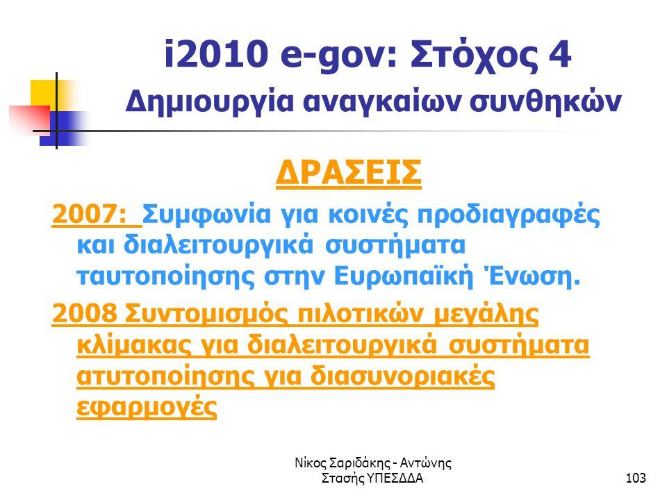 Νίκος Σαριδάκης - Αντώνης Στασής ΥΠΕΣΔΔΑ103 i2010 e-gov: Στόχος 4 Δημιουργία αναγκαίων συνθηκών ΔΡΑΣΕΙΣ 2007: Συμφωνία για κοινές προδιαγραφές και δια