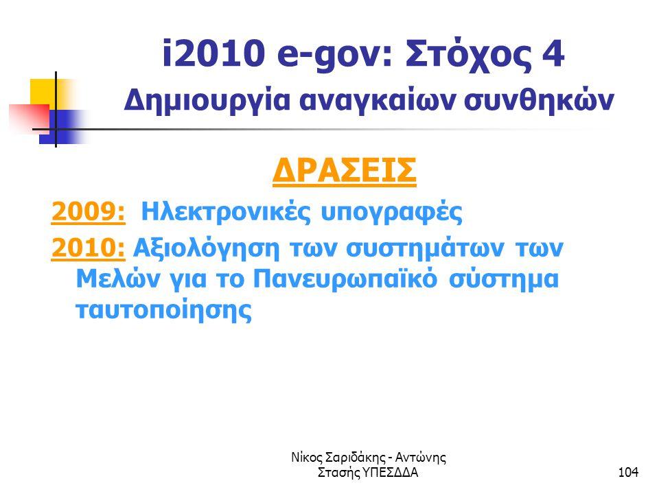 Νίκος Σαριδάκης - Αντώνης Στασής ΥΠΕΣΔΔΑ104 i2010 e-gov: Στόχος 4 Δημιουργία αναγκαίων συνθηκών ΔΡΑΣΕΙΣ 2009: Ηλεκτρονικές υπογραφές 2010: Αξιολόγηση