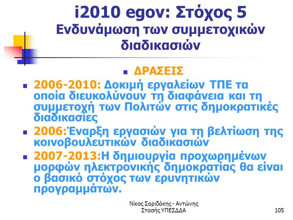 Νίκος Σαριδάκης - Αντώνης Στασής ΥΠΕΣΔΔΑ105 i2010 egov: Στόχος 5 Ενδυνάμωση των συμμετοχικών διαδικασιών  ΔΡΑΣΕΙΣ  2006-2010: Δοκιμή εργαλείων ΤΠΕ τ