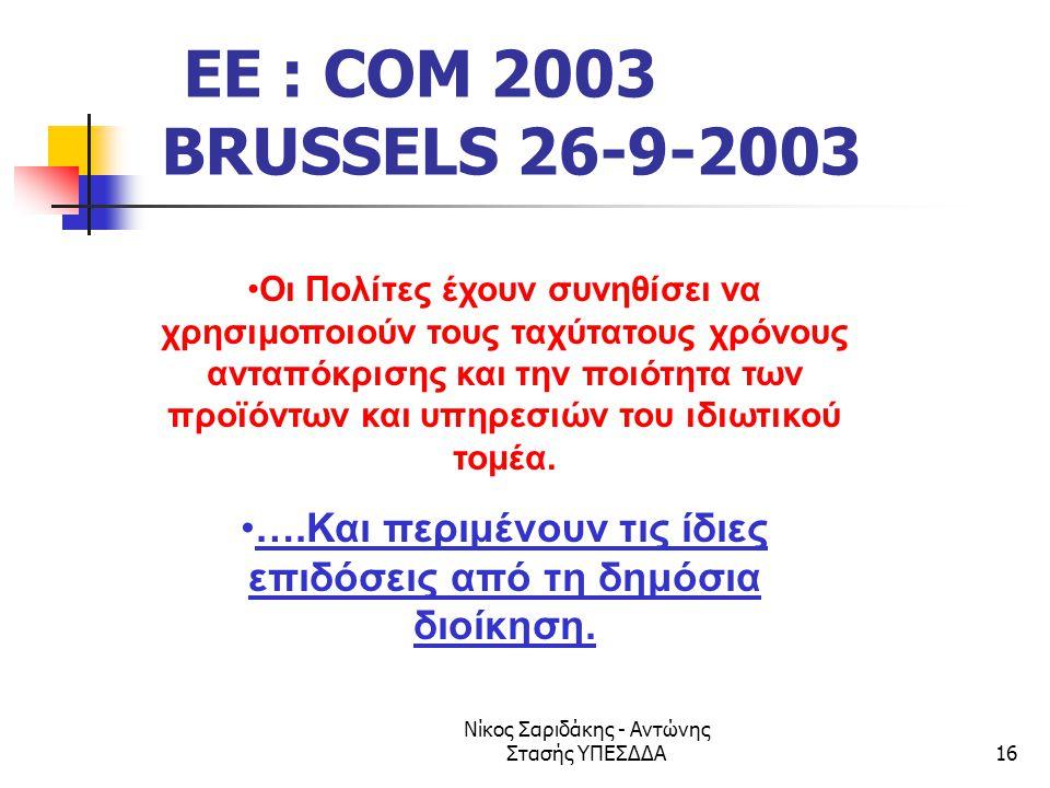 Νίκος Σαριδάκης - Αντώνης Στασής ΥΠΕΣΔΔΑ16 EE : COM 2003 BRUSSELS 26-9-2003 •Οι Πολίτες έχουν συνηθίσει να χρησιμοποιούν τους ταχύτατους χρόνους ανταπ