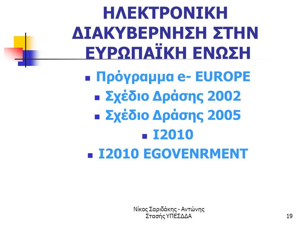 Νίκος Σαριδάκης - Αντώνης Στασής ΥΠΕΣΔΔΑ19 ΗΛΕΚΤΡΟΝΙΚΗ ΔΙΑΚΥΒΕΡΝΗΣΗ ΣΤΗΝ ΕΥΡΩΠΑΪΚΗ ΕΝΩΣΗ  Πρόγραμμα e- EUROPE  Σχέδιο Δράσης 2002  Σχέδιο Δράσης 20