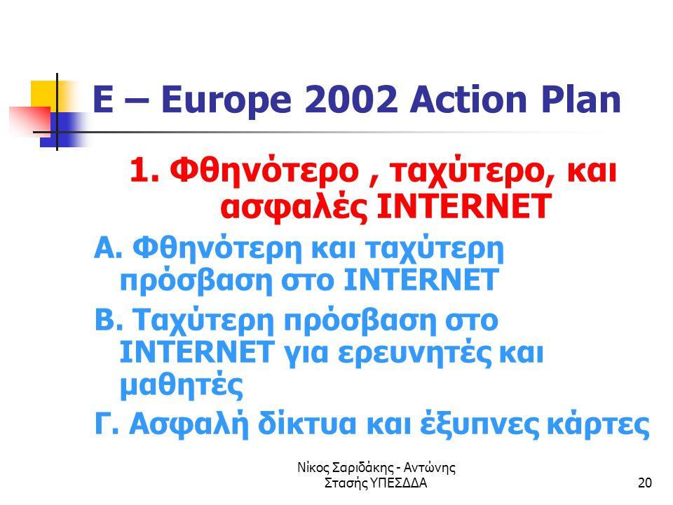 Νίκος Σαριδάκης - Αντώνης Στασής ΥΠΕΣΔΔΑ20 E – Europe 2002 Action Plan 1. Φθηνότερο, ταχύτερο, και ασφαλές INTERNET Α. Φθηνότερη και ταχύτερη πρόσβαση