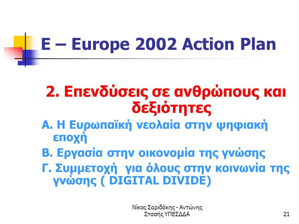 Νίκος Σαριδάκης - Αντώνης Στασής ΥΠΕΣΔΔΑ21 E – Europe 2002 Action Plan 2. Επενδύσεις σε ανθρώπους και δεξιότητες Α. Η Ευρωπαϊκή νεολαία στην ψηφιακή ε