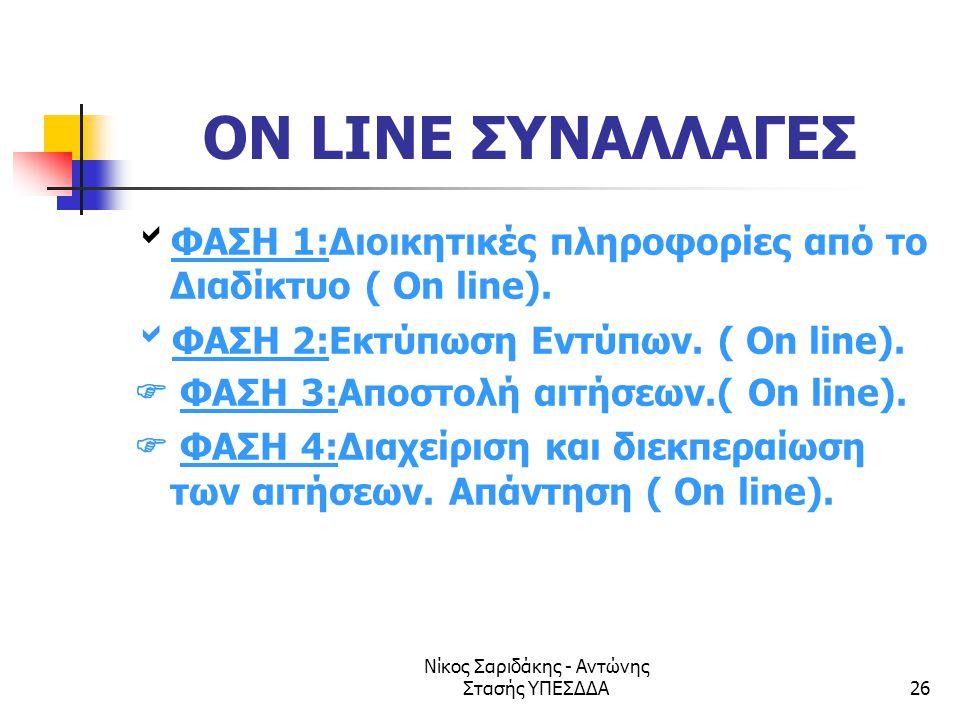 Νίκος Σαριδάκης - Αντώνης Στασής ΥΠΕΣΔΔΑ26 ON LINE ΣΥΝΑΛΛΑΓΕΣ  ΦΑΣΗ 1:Διοικητικές πληροφορίες από το Διαδίκτυο ( On line).  ΦΑΣΗ 2:Εκτύπωση Εντύπων.