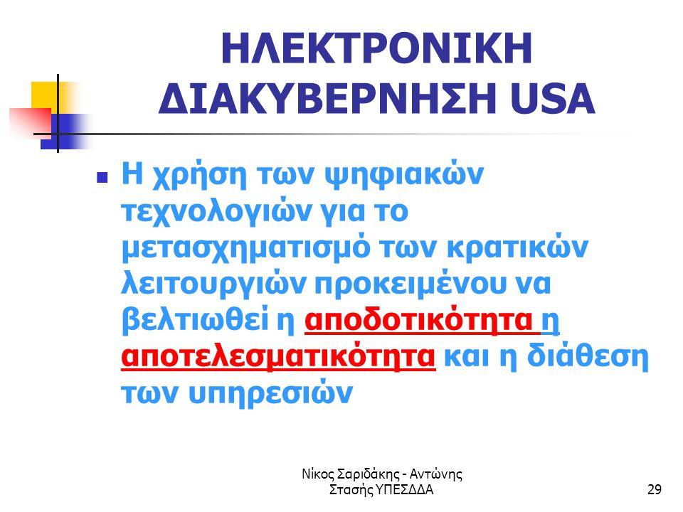 Νίκος Σαριδάκης - Αντώνης Στασής ΥΠΕΣΔΔΑ29 ΗΛΕΚΤΡΟΝΙΚΗ ΔΙΑΚΥΒΕΡΝΗΣΗ USA  Η χρήση των ψηφιακών τεχνολογιών για το μετασχηματισμό των κρατικών λειτουργ