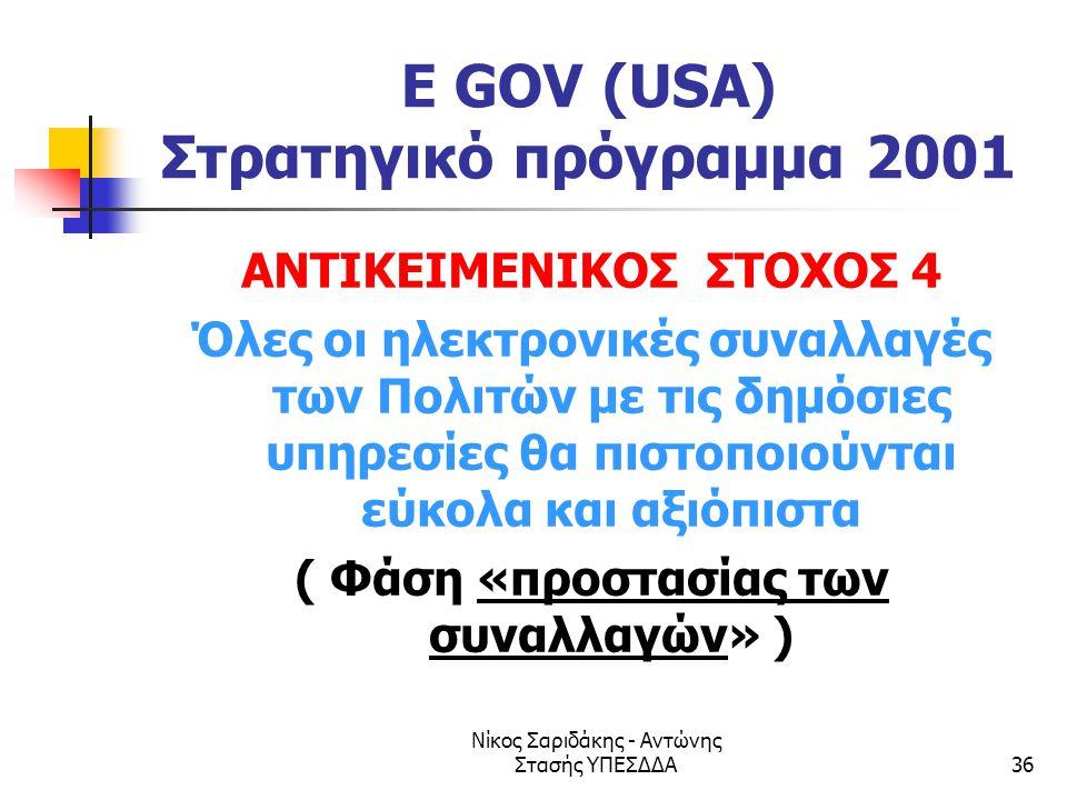 Νίκος Σαριδάκης - Αντώνης Στασής ΥΠΕΣΔΔΑ36 E GOV (USA) Στρατηγικό πρόγραμμα 2001 ΑΝΤΙΚΕΙΜΕΝΙΚΟΣ ΣΤΟΧΟΣ 4 Όλες οι ηλεκτρονικές συναλλαγές των Πολιτών μ