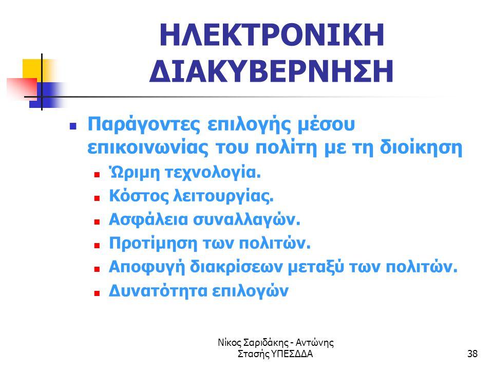 Νίκος Σαριδάκης - Αντώνης Στασής ΥΠΕΣΔΔΑ38 ΗΛΕΚΤΡΟΝΙΚΗ ΔΙΑΚΥΒΕΡΝΗΣΗ  Παράγοντες επιλογής μέσου επικοινωνίας του πολίτη με τη διοίκηση  Ώριμη τεχνολο