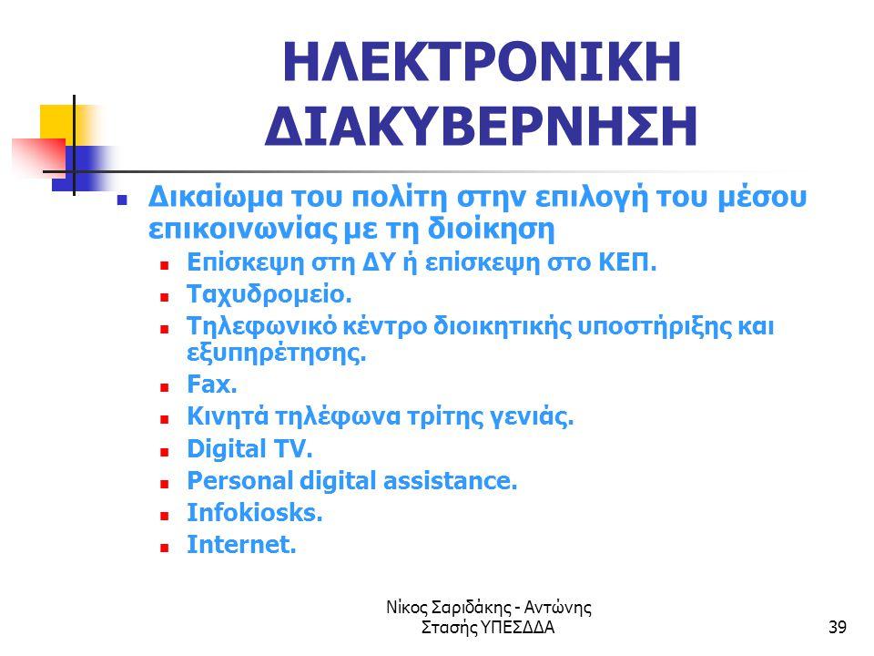 Νίκος Σαριδάκης - Αντώνης Στασής ΥΠΕΣΔΔΑ39 ΗΛΕΚΤΡΟΝΙΚΗ ΔΙΑΚΥΒΕΡΝΗΣΗ  Δικαίωμα του πολίτη στην επιλογή του μέσου επικοινωνίας με τη διοίκηση  Επίσκεψ