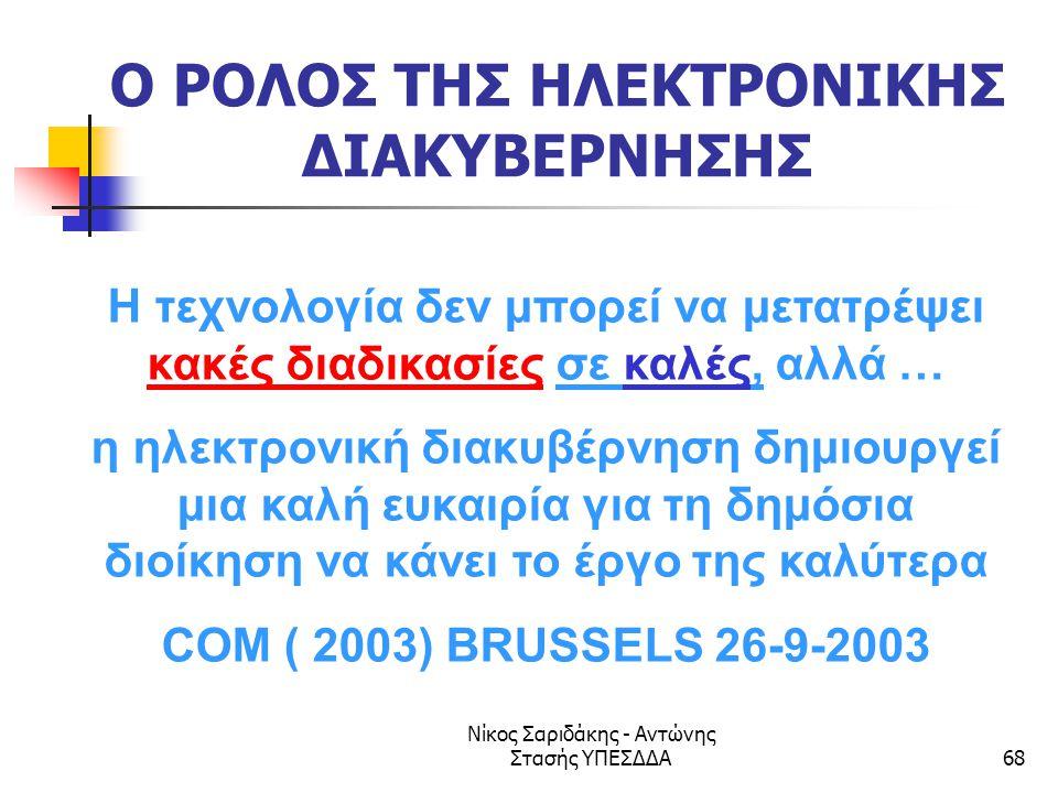 Νίκος Σαριδάκης - Αντώνης Στασής ΥΠΕΣΔΔΑ68 Ο ΡΟΛΟΣ ΤΗΣ ΗΛΕΚΤΡΟΝΙΚΗΣ ΔΙΑΚΥΒΕΡΝΗΣΗΣ Η τεχνολογία δεν μπορεί να μετατρέψει κακές διαδικασίες σε καλές, αλ