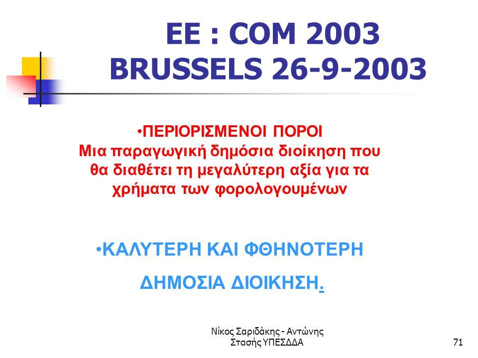 Νίκος Σαριδάκης - Αντώνης Στασής ΥΠΕΣΔΔΑ71 EE : COM 2003 BRUSSELS 26-9-2003 •ΠΕΡΙΟΡΙΣΜΕΝΟΙ ΠΟΡΟΙ Μια παραγωγική δημόσια διοίκηση που θα διαθέτει τη με