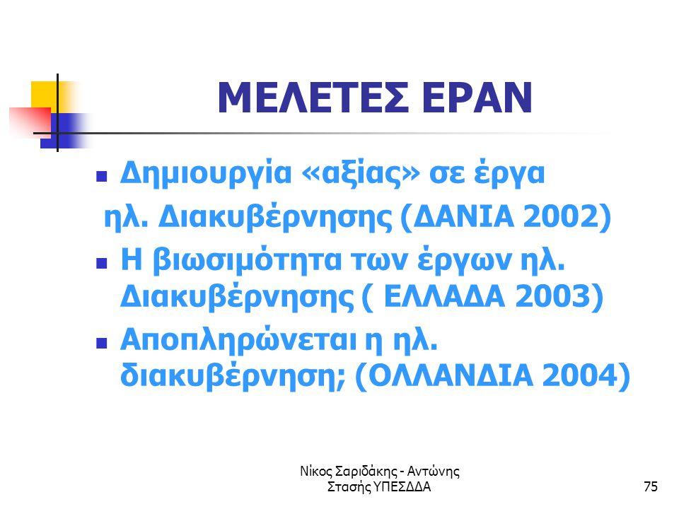 Νίκος Σαριδάκης - Αντώνης Στασής ΥΠΕΣΔΔΑ75 ΜΕΛΕΤΕΣ EPAN  Δημιουργία «αξίας» σε έργα ηλ. Διακυβέρνησης (ΔΑΝΙΑ 2002)  Η βιωσιμότητα των έργων ηλ. Διακ