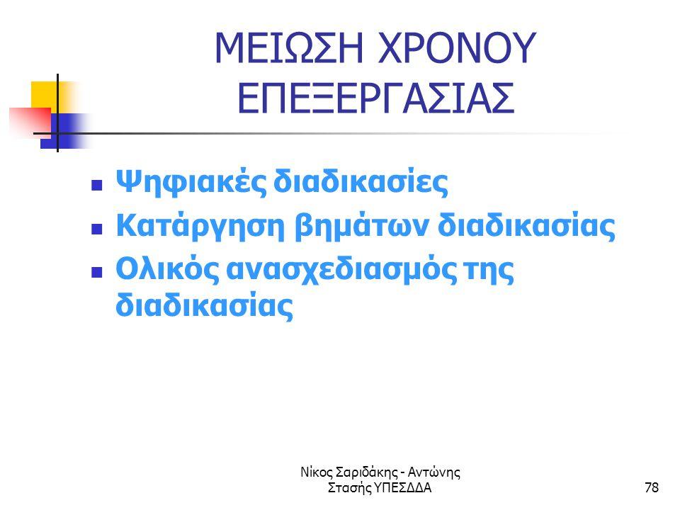 Νίκος Σαριδάκης - Αντώνης Στασής ΥΠΕΣΔΔΑ78 ΜΕΙΩΣΗ ΧΡΟΝΟΥ ΕΠΕΞΕΡΓΑΣΙΑΣ  Ψηφιακές διαδικασίες  Κατάργηση βημάτων διαδικασίας  Ολικός ανασχεδιασμός τη