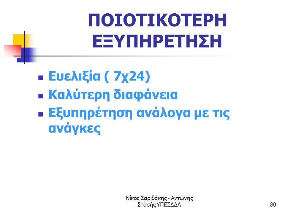 Νίκος Σαριδάκης - Αντώνης Στασής ΥΠΕΣΔΔΑ80 ΠΟΙΟΤΙΚΟΤΕΡΗ ΕΞΥΠΗΡΕΤΗΣΗ  Ευελιξία ( 7χ24)  Καλύτερη διαφάνεια  Εξυπηρέτηση ανάλογα με τις ανάγκες