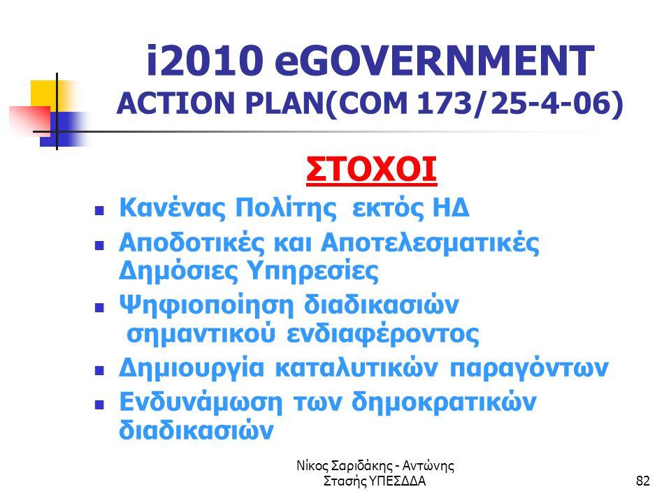 Νίκος Σαριδάκης - Αντώνης Στασής ΥΠΕΣΔΔΑ82 i2010 eGOVERNMENT ACTION PLAN(COM 173/25-4-06) ΣΤΟΧΟΙ  Κανένας Πολίτης εκτός ΗΔ  Αποδοτικές και Αποτελεσμ