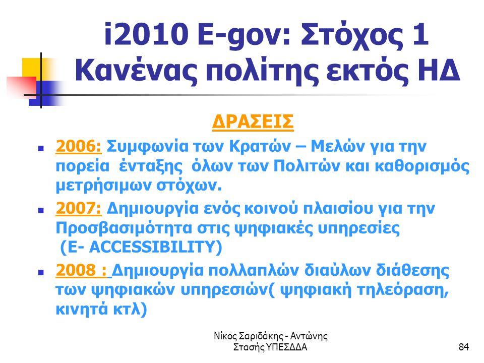 Νίκος Σαριδάκης - Αντώνης Στασής ΥΠΕΣΔΔΑ84 i2010 E-gov: Στόχος 1 Κανένας πολίτης εκτός ΗΔ ΔΡΑΣΕΙΣ  2006: Συμφωνία των Κρατών – Μελών για την πορεία έ