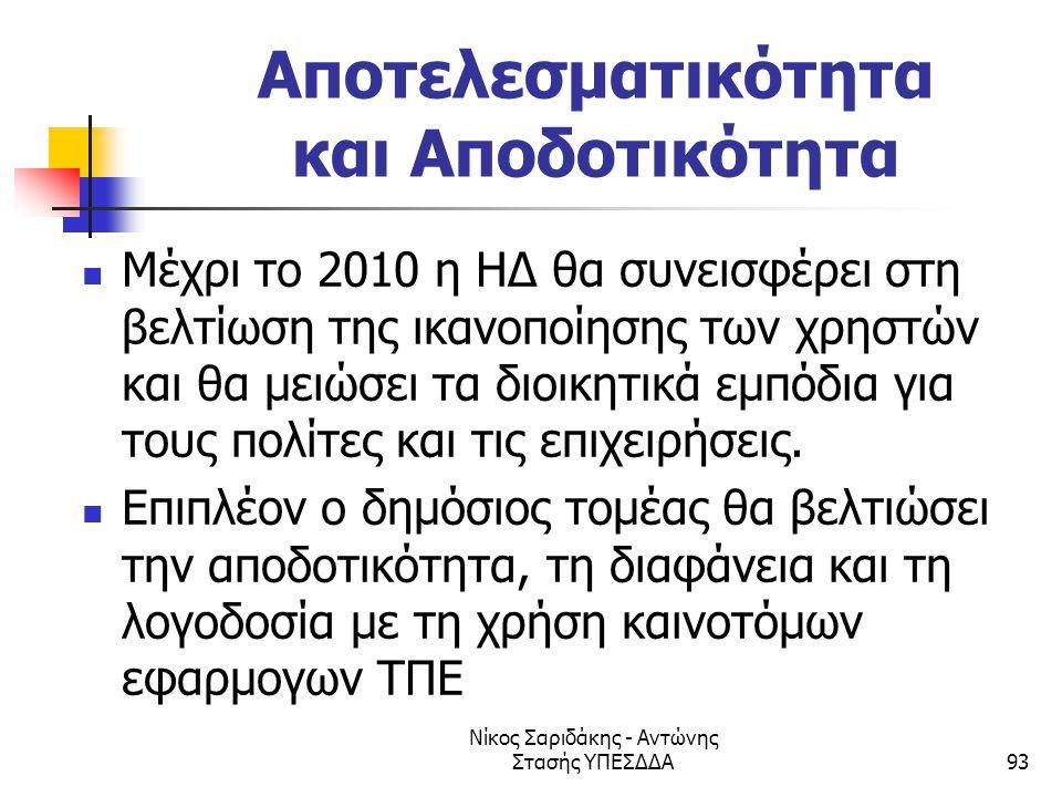 Νίκος Σαριδάκης - Αντώνης Στασής ΥΠΕΣΔΔΑ93 Αποτελεσματικότητα και Αποδοτικότητα  Μέχρι το 2010 η ΗΔ θα συνεισφέρει στη βελτίωση της ικανοποίησης των