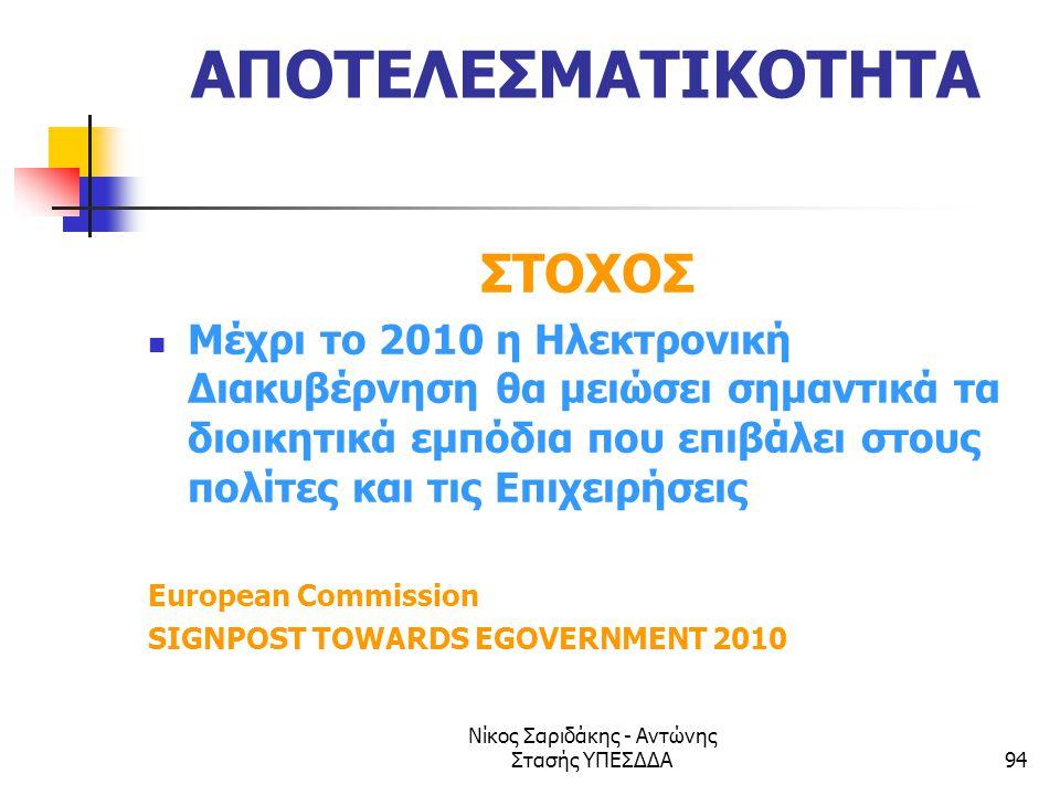 Νίκος Σαριδάκης - Αντώνης Στασής ΥΠΕΣΔΔΑ94 ΑΠΟΤΕΛΕΣΜΑΤΙΚΟΤΗΤΑ ΣΤΟΧΟΣ  Μέχρι το 2010 η Ηλεκτρονική Διακυβέρνηση θα μειώσει σημαντικά τα διοικητικά εμπ