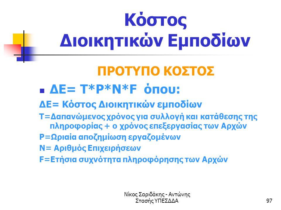 Νίκος Σαριδάκης - Αντώνης Στασής ΥΠΕΣΔΔΑ97 Κόστος Διοικητικών Εμποδίων ΠΡΟΤΥΠΟ ΚΟΣΤΟΣ  ΔΕ= T*P*N*F όπου: ΔΕ= Κόστος Διοικητικών εμποδίων T=Δαπανώμενο