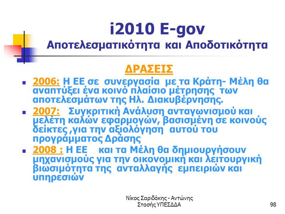Νίκος Σαριδάκης - Αντώνης Στασής ΥΠΕΣΔΔΑ98 i2010 E-gov Αποτελεσματικότητα και Αποδοτικότητα ΔΡΑΣΕΙΣ  2006: Η ΕΕ σε συνεργασία με τα Κράτη- Μέλη θα αν