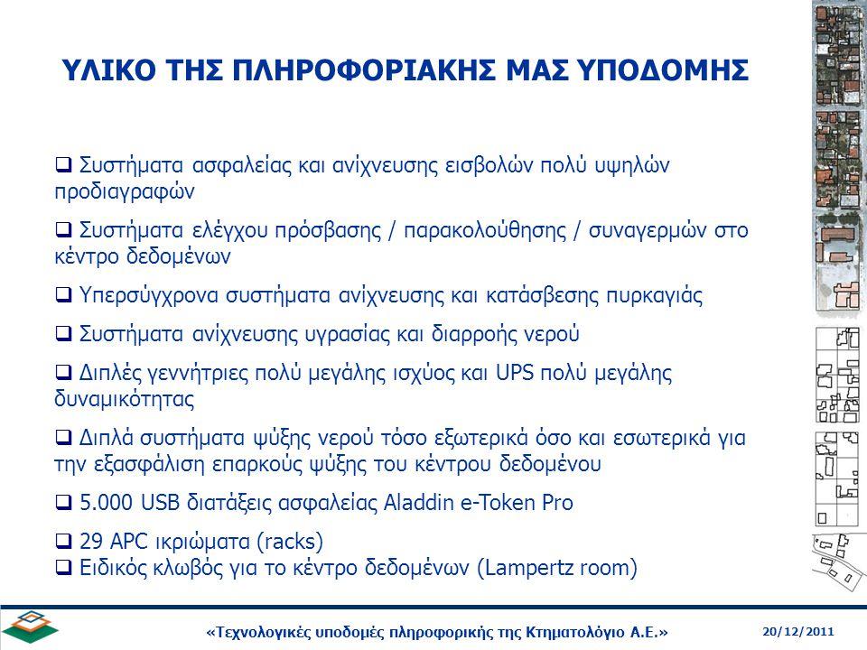 12 20/12/2011 «Τεχνολογικές υποδομές πληροφορικής της Κτηματολόγιο Α.Ε.»  Συστήματα ασφαλείας και ανίχνευσης εισβολών πολύ υψηλών προδιαγραφών  Συστ