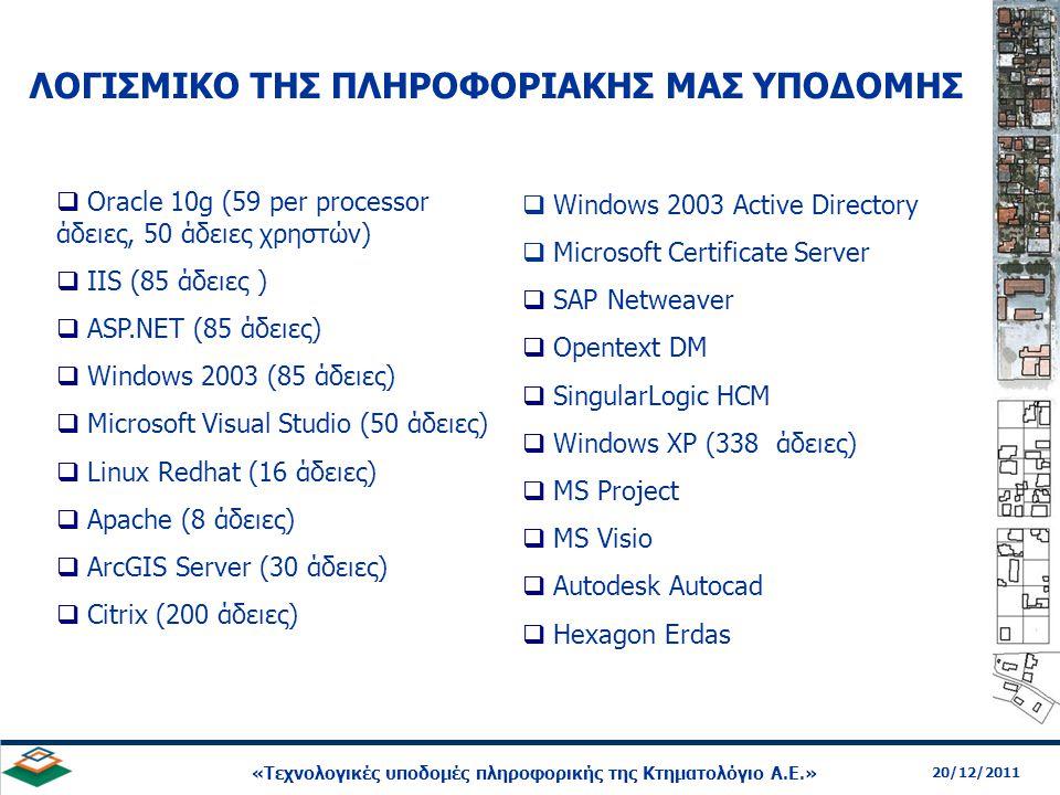 13 20/12/2011 «Τεχνολογικές υποδομές πληροφορικής της Κτηματολόγιο Α.Ε.»  Oracle 10g (59 per processor άδειες, 50 άδειες χρηστών)  IIS (85 άδειες )