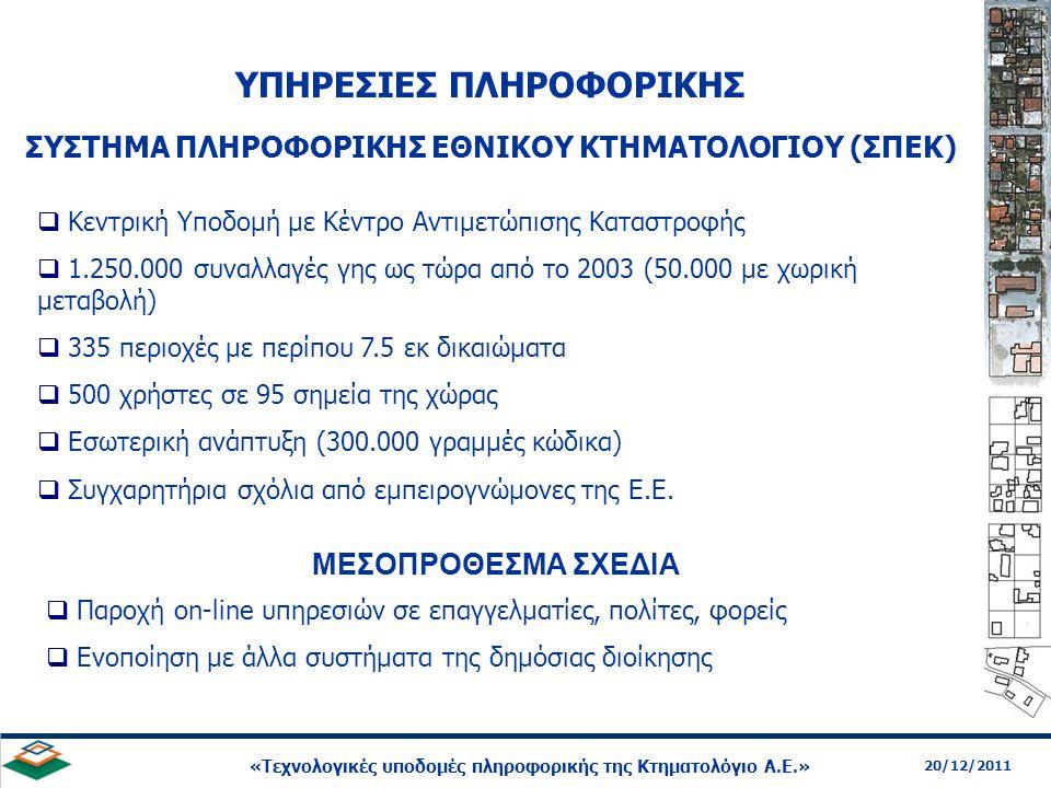 19 20/12/2011 «Τεχνολογικές υποδομές πληροφορικής της Κτηματολόγιο Α.Ε.» ΣΥΣΤΗΜΑ ΠΛΗΡΟΦΟΡΙΚΗΣ ΕΘΝΙΚΟΥ ΚΤΗΜΑΤΟΛΟΓΙΟΥ (ΣΠΕΚ)  Παροχή on-line υπηρεσιών