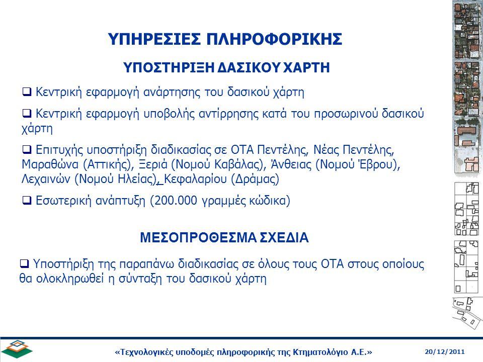 21 20/12/2011 «Τεχνολογικές υποδομές πληροφορικής της Κτηματολόγιο Α.Ε.» ΥΠΟΣΤΗΡΙΞΗ ΔΑΣΙΚΟΥ ΧΑΡΤΗ  Υποστήριξη της παραπάνω διαδικασίας σε όλους τους