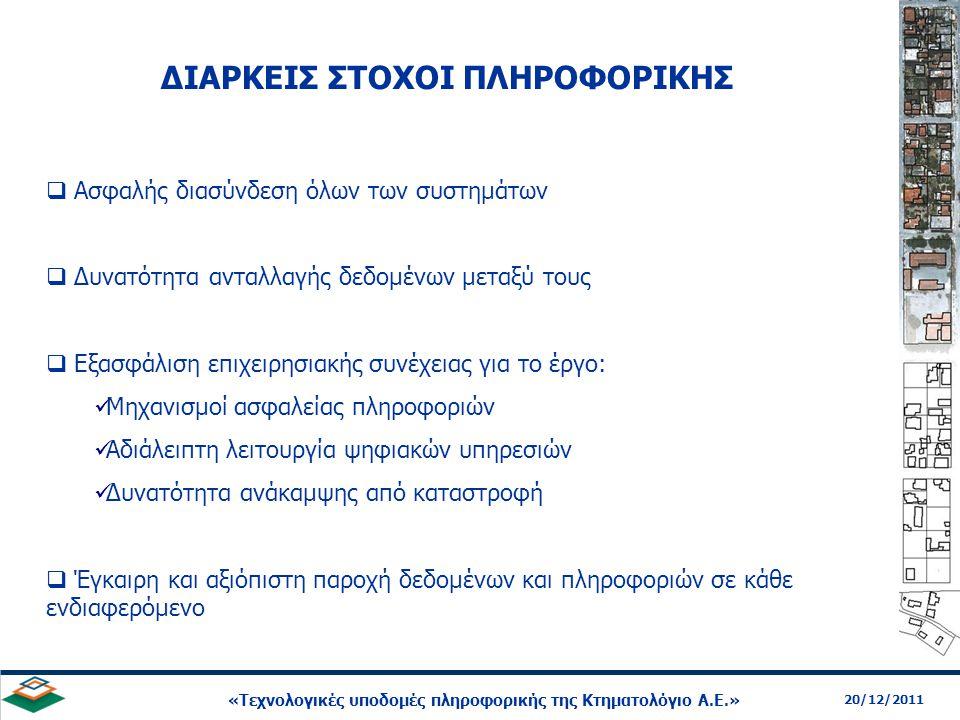 16 20/12/2011 «Τεχνολογικές υποδομές πληροφορικής της Κτηματολόγιο Α.Ε.» ΥΠΗΡΕΣΙΕΣ ΠΛΗΡΟΦΟΡΙΚΗΣ  Εσωτερικό δίκτυο  Ολοκληρωμένο Πληροφοριακό Σύστημα (ΟΠΣ)  Κτηματολόγιο σε Λειτουργία (ΣΠΕΚ)  Υποστήριξη Κτηματογραφήσεων  Υποστήριξη Δασικών Χαρτών  Διαδικτυακές Υπηρεσίες & Προϊόντα  Υποστήριξη διαδικασίας είσπραξης τελών